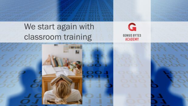 Picture from Academy with the text - we start again with classroom training