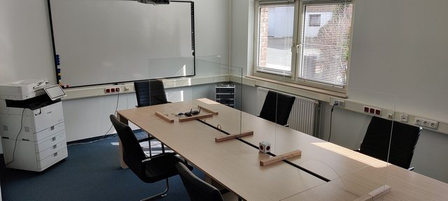 Picture from our training room with covid protection walls