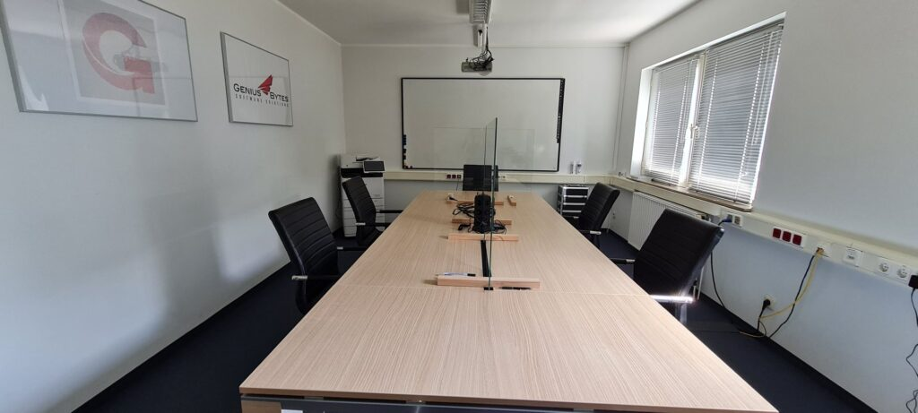 photo of our training room with covid-19 partitions